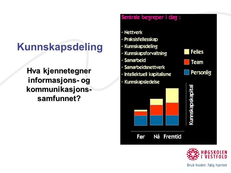 Kunnskapsdeling Hva kjennetegner informasjons- og kommunikasjons- samfunnet