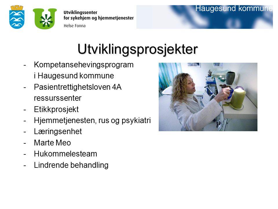 -Kompetansehevingsprogram i Haugesund kommune -Pasientrettighetsloven 4A ressurssenter -Etikkprosjekt -Hjemmetjenesten, rus og psykiatri -Læringsenhet
