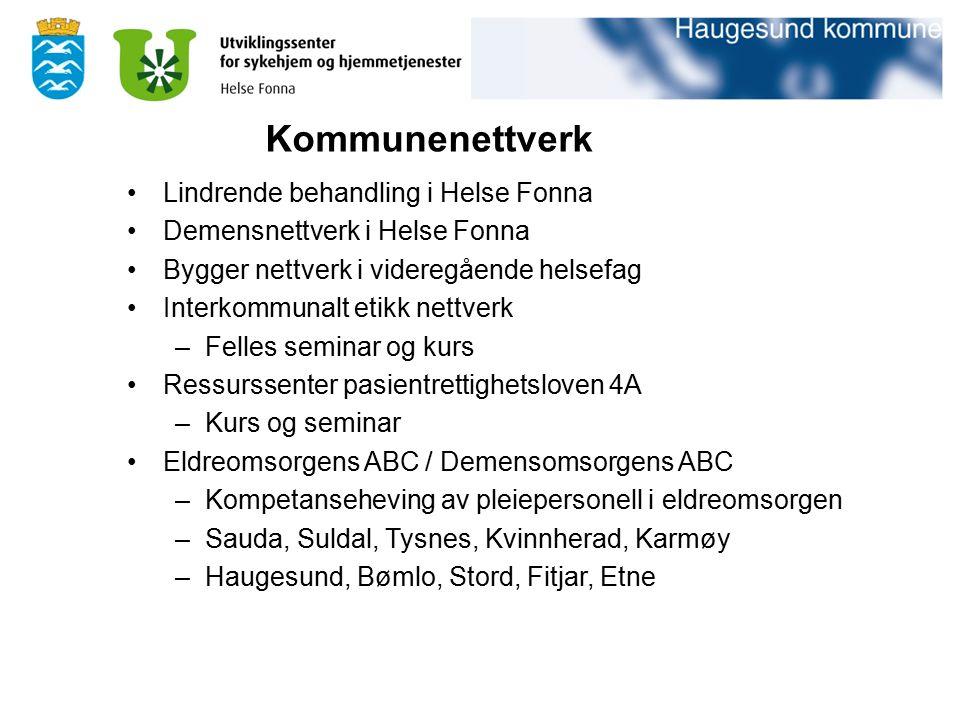Lindrende behandling i Helse Fonna Demensnettverk i Helse Fonna Bygger nettverk i videregående helsefag Interkommunalt etikk nettverk –Felles seminar