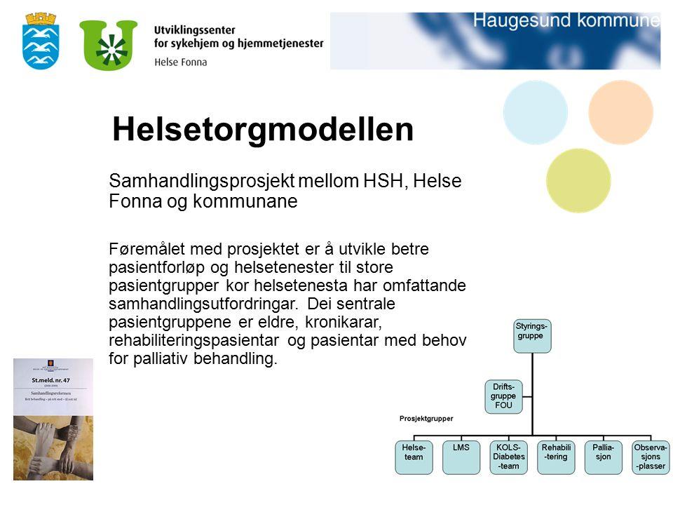 Helsetorgmodellen Samhandlingsprosjekt mellom HSH, Helse Fonna og kommunane Føremålet med prosjektet er å utvikle betre pasientforløp og helsetenester til store pasientgrupper kor helsetenesta har omfattande samhandlingsutfordringar.