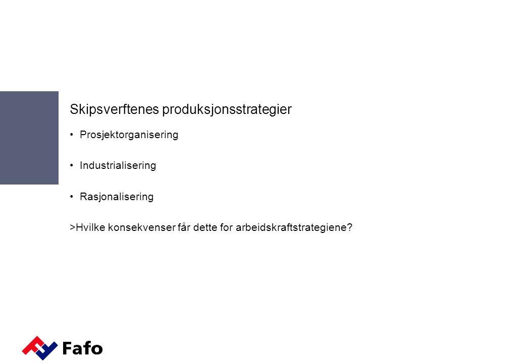 Networking  Felles nettverksorganisasjon i Øst-Europa  Knyttet til seg stålverft, tjenesteleverandører og andre underleverandører Produksjonsstrategi: Nettverk for delproduksjon, arbeidsinnleie og underleveranser Arbeidskraftstrategi: Kjernekompetanse i nettverksorganisasjonen Konkurransefortrinn: Nettverksorganisasjonen er fleksibel mht.