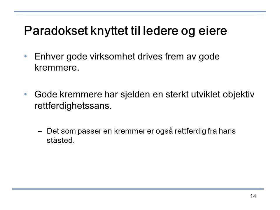 14 Paradokset knyttet til ledere og eiere Enhver gode virksomhet drives frem av gode kremmere.
