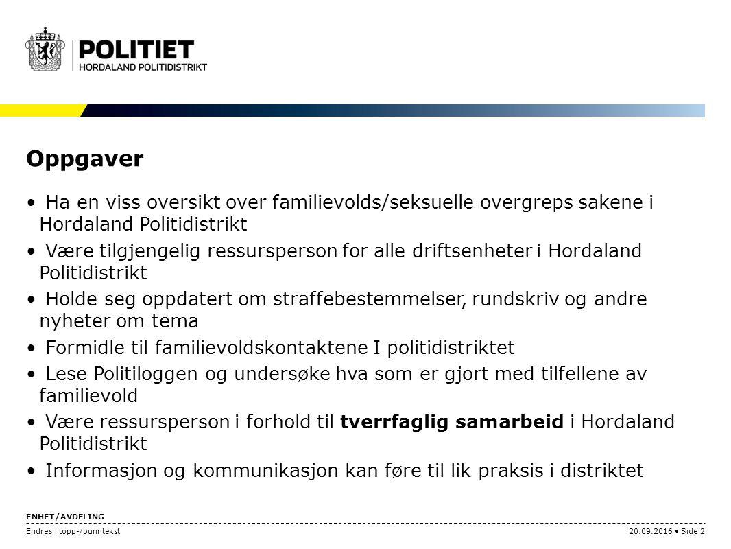 ENHET/AVDELING Endres i topp-/bunntekst20.09.2016 Side 2 Oppgaver Ha en viss oversikt over familievolds/seksuelle overgreps sakene i Hordaland Politid