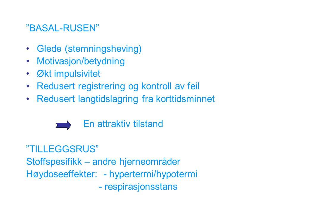 BASAL-RUSEN Glede (stemningsheving) Motivasjon/betydning Økt impulsivitet Redusert registrering og kontroll av feil Redusert langtidslagring fra korttidsminnet En attraktiv tilstand TILLEGGSRUS Stoffspesifikk – andre hjerneområder Høydoseeffekter: - hypertermi/hypotermi - respirasjonsstans