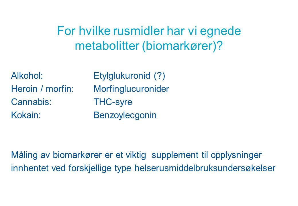 For hvilke rusmidler har vi egnede metabolitter (biomarkører).