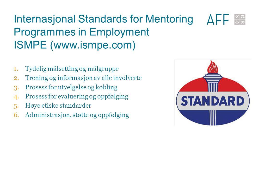 Internasjonal Standards for Mentoring Programmes in Employment ISMPE (www.ismpe.com) 1.Tydelig målsetting og målgruppe 2.Trening og informasjon av all