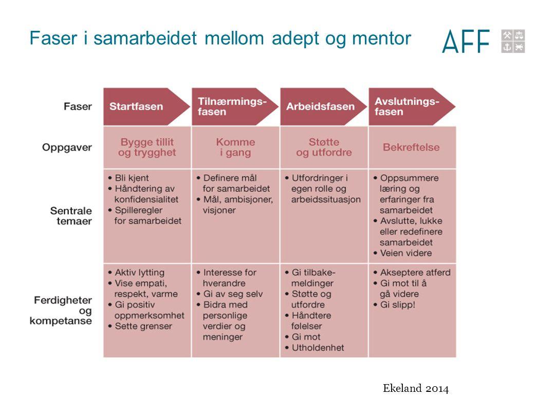 Faser i samarbeidet mellom adept og mentor Ekeland 2014