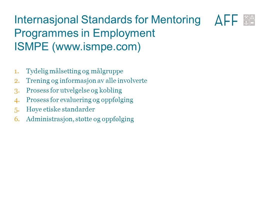Internasjonal Standards for Mentoring Programmes in Employment ISMPE (www.ismpe.com) 1.Tydelig målsetting og målgruppe 2.Trening og informasjon av alle involverte 3.Prosess for utvelgelse og kobling 4.Prosess for evaluering og oppfølging 5.Høye etiske standarder 6.Administrasjon, støtte og oppfølging