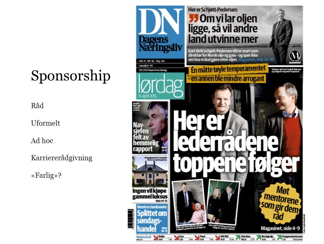 Sponsorship Råd Uformelt Ad hoc Karriererådgivning «Farlig»?
