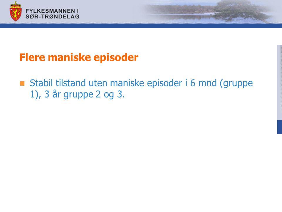 Flere maniske episoder Stabil tilstand uten maniske episoder i 6 mnd (gruppe 1), 3 år gruppe 2 og 3.