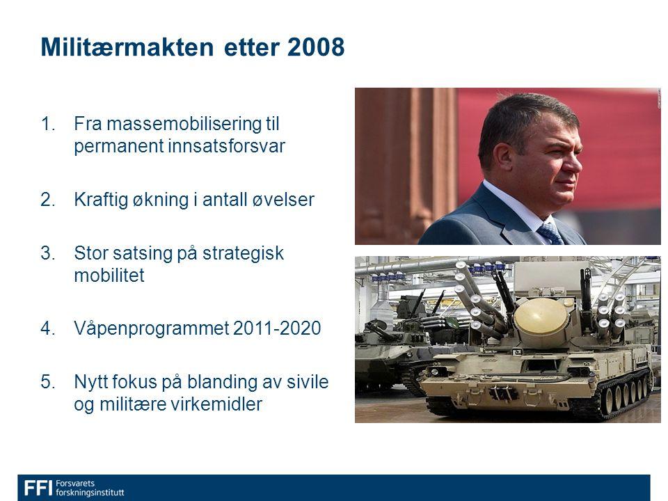 Militærmakten etter 2008 1.Fra massemobilisering til permanent innsatsforsvar 2.Kraftig økning i antall øvelser 3.Stor satsing på strategisk mobilitet 4.Våpenprogrammet 2011-2020 5.Nytt fokus på blanding av sivile og militære virkemidler