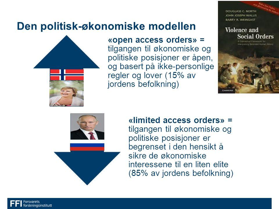 Den politisk-økonomiske modellen «open access orders» = tilgangen til økonomiske og politiske posisjoner er åpen, og basert på ikke-personlige regler