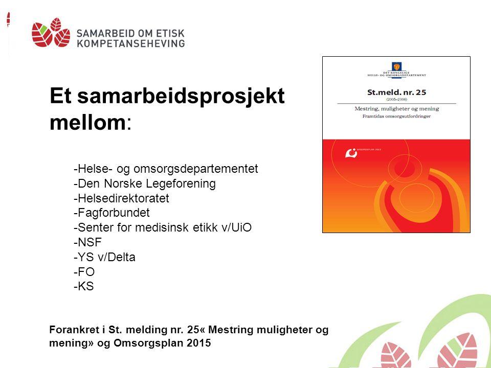 Et samarbeidsprosjekt mellom: -Helse- og omsorgsdepartementet -Den Norske Legeforening -Helsedirektoratet -Fagforbundet -Senter for medisinsk etikk v/UiO -NSF -YS v/Delta -FO -KS Forankret i St.
