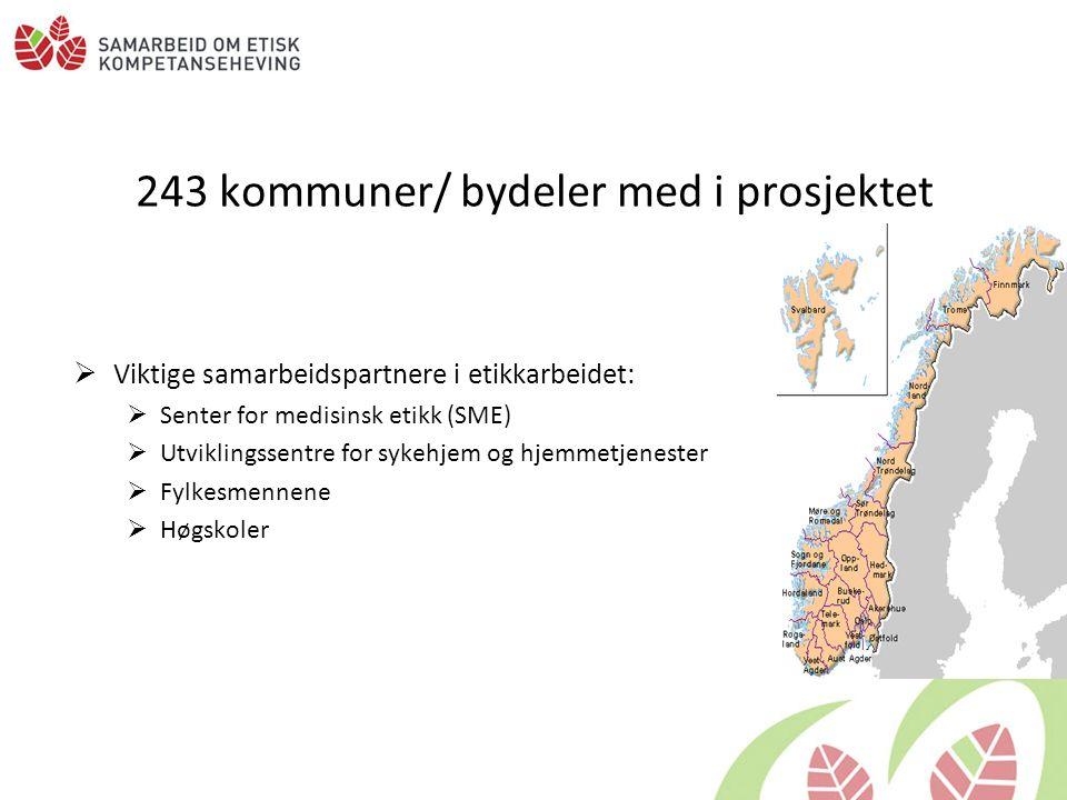 243 kommuner/ bydeler med i prosjektet  Viktige samarbeidspartnere i etikkarbeidet:  Senter for medisinsk etikk (SME)  Utviklingssentre for sykehjem og hjemmetjenester  Fylkesmennene  Høgskoler