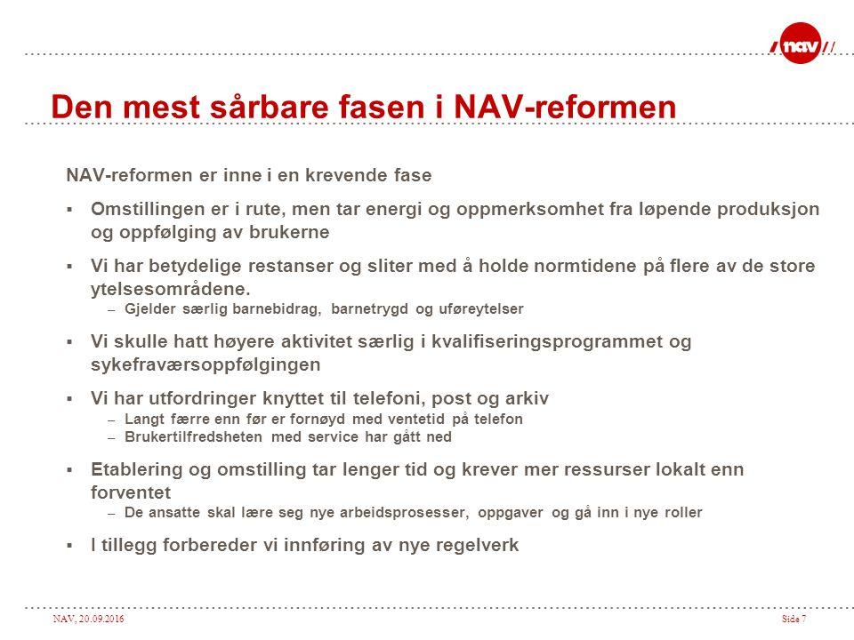 NAV, 20.09.2016Side 7 Den mest sårbare fasen i NAV-reformen NAV-reformen er inne i en krevende fase  Omstillingen er i rute, men tar energi og oppmer