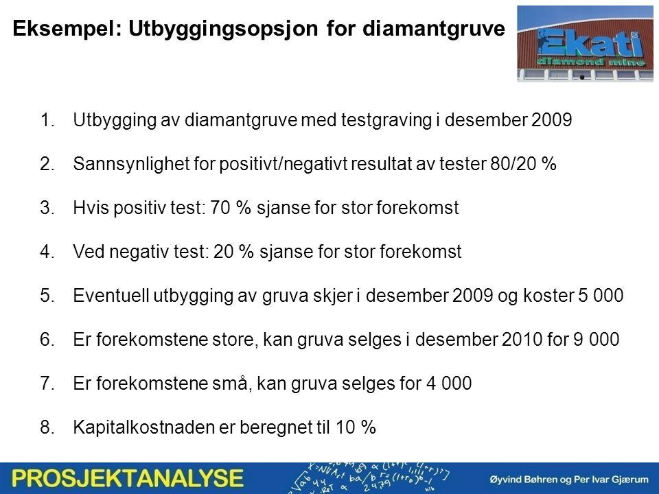 Eksempel: Utbyggingsopsjon for diamantgruve 1.Utbygging av diamantgruve med testgraving i desember 2009 2.Sannsynlighet for positivt/negativt resultat av tester 80/20 % 3.Hvis positiv test: 70 % sjanse for stor forekomst 4.Ved negativ test: 20 % sjanse for stor forekomst 5.Eventuell utbygging av gruva skjer i desember 2009 og koster 5 000 6.Er forekomstene store, kan gruva selges i desember 2010 for 9 000 7.Er forekomstene små, kan gruva selges for 4 000 8.Kapitalkostnaden er beregnet til 10 %