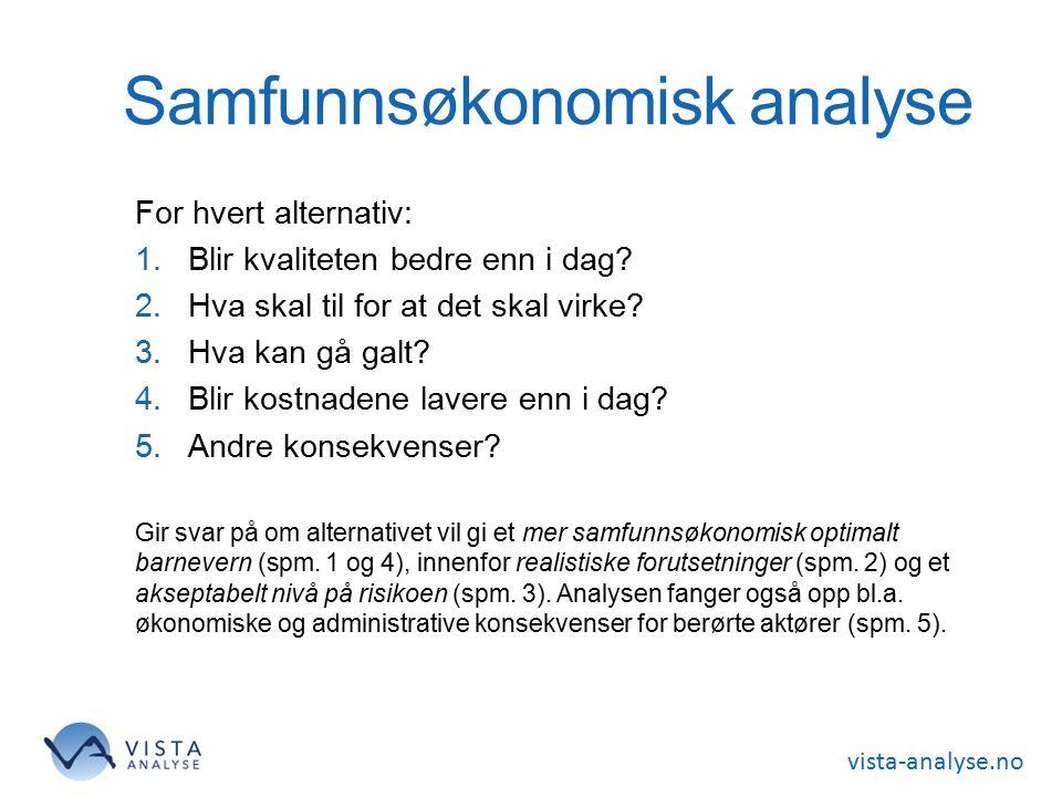 vista-analyse.no Samfunnsøkonomisk analyse For hvert alternativ: 1.Blir kvaliteten bedre enn i dag? 2.Hva skal til for at det skal virke? 3.Hva kan gå
