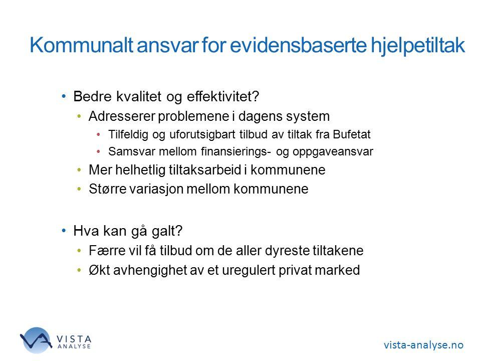 vista-analyse.no Kommunalt ansvar for evidensbaserte hjelpetiltak Bedre kvalitet og effektivitet.