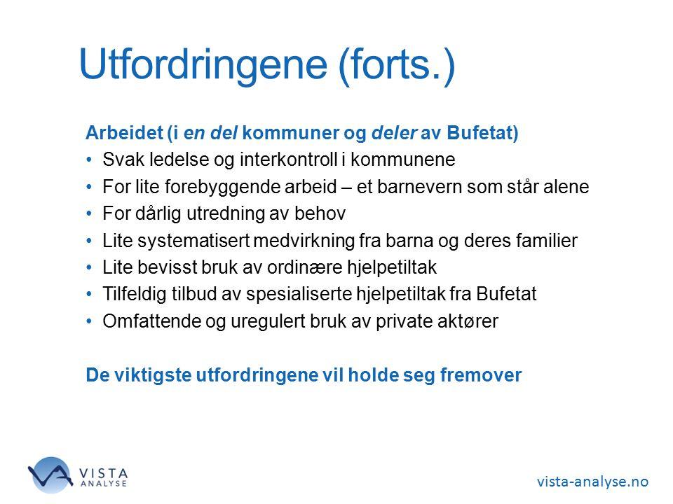 vista-analyse.no Utfordringene (forts.) Arbeidet (i en del kommuner og deler av Bufetat) Svak ledelse og interkontroll i kommunene For lite forebyggen