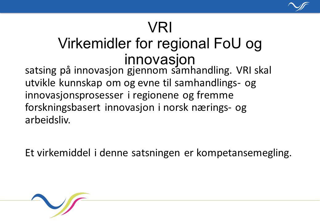 VRI Virkemidler for regional FoU og innovasjon satsing på innovasjon gjennom samhandling.