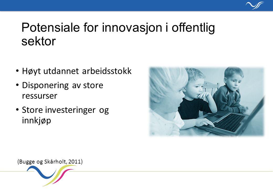 Potensiale for innovasjon i offentlig sektor Høyt utdannet arbeidsstokk Disponering av store ressurser Store investeringer og innkjøp (Bugge og Skårholt, 2011)