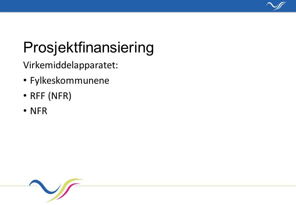 Prosjektfinansiering Virkemiddelapparatet: Fylkeskommunene RFF (NFR) NFR