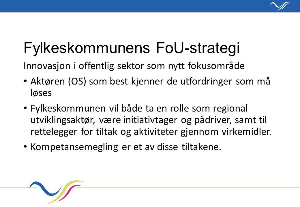 Fylkeskommunens FoU-strategi Innovasjon i offentlig sektor som nytt fokusområde Aktøren (OS) som best kjenner de utfordringer som må løses Fylkeskommunen vil både ta en rolle som regional utviklingsaktør, være initiativtager og pådriver, samt til rettelegger for tiltak og aktiviteter gjennom virkemidler.