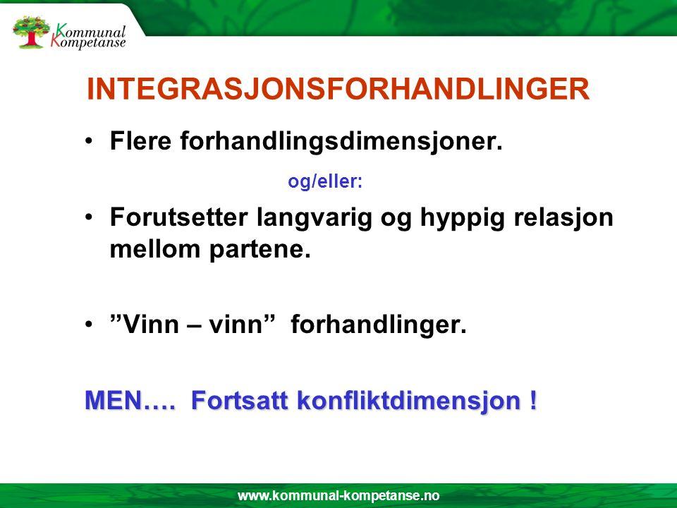 INTEGRASJONSFORHANDLINGER Flere forhandlingsdimensjoner.