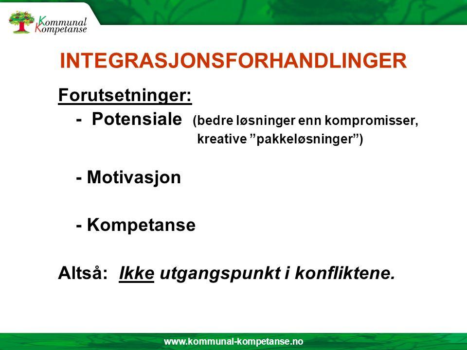 www.kommunal-kompetanse.no INTEGRASJONSFORHANDLINGER Forutsetninger: - Potensiale (bedre løsninger enn kompromisser, kreative pakkeløsninger ) - Motivasjon - Kompetanse Altså: Ikke utgangspunkt i konfliktene.