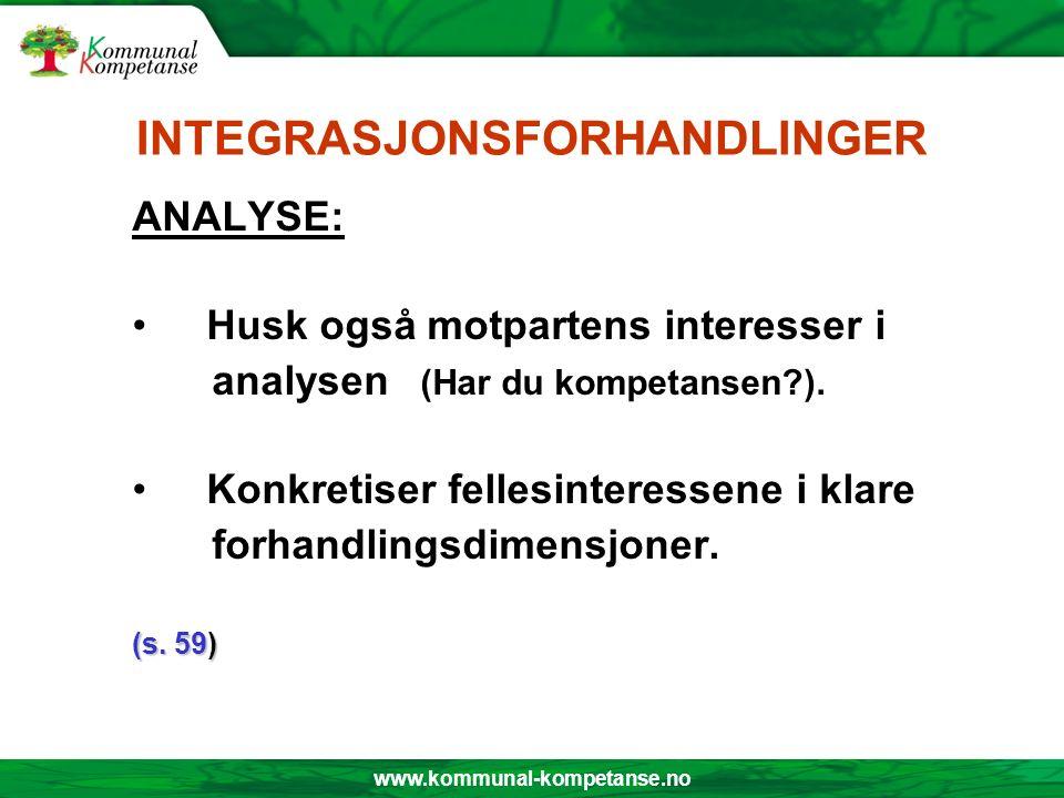 www.kommunal-kompetanse.no INTEGRASJONSFORHANDLINGER ANALYSE: Husk også motpartens interesser i analysen (Har du kompetansen?). Konkretiser fellesinte