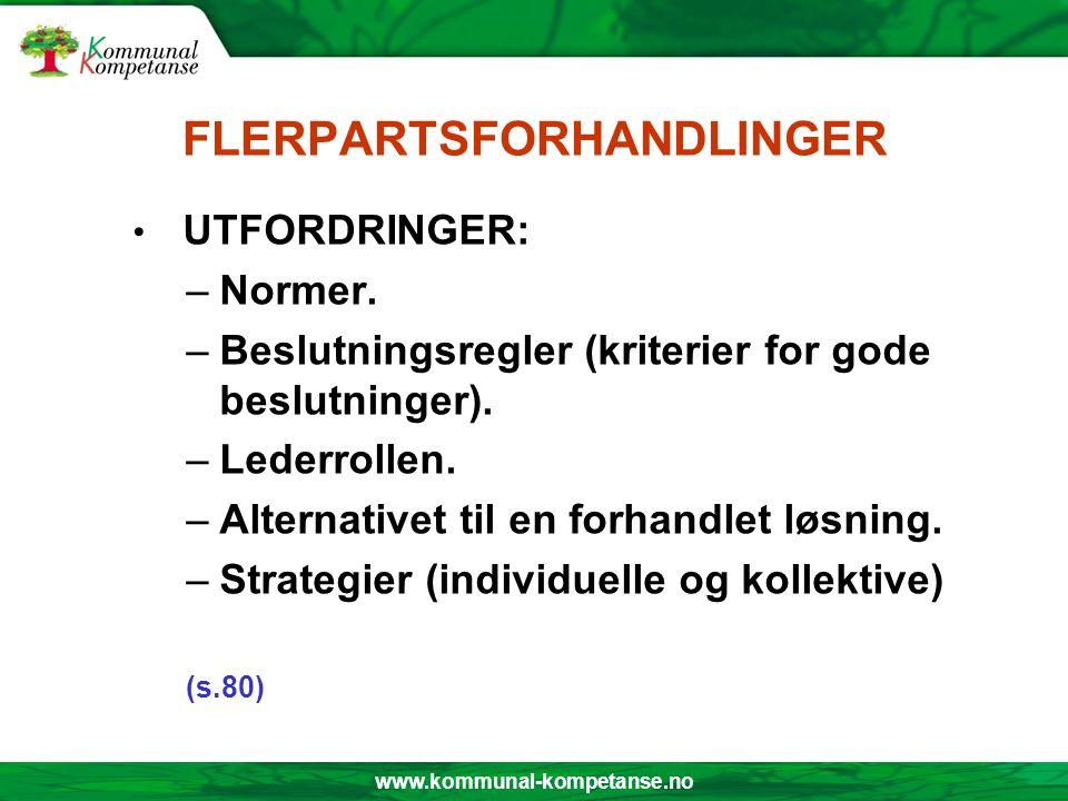 www.kommunal-kompetanse.no FLERPARTSFORHANDLINGER UTFORDRINGER: –Normer. –Beslutningsregler (kriterier for gode beslutninger). –Lederrollen. –Alternat