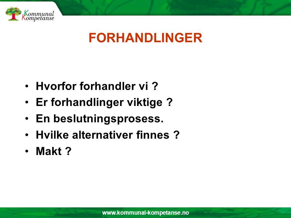 www.kommunal-kompetanse.no FORHANDLINGER