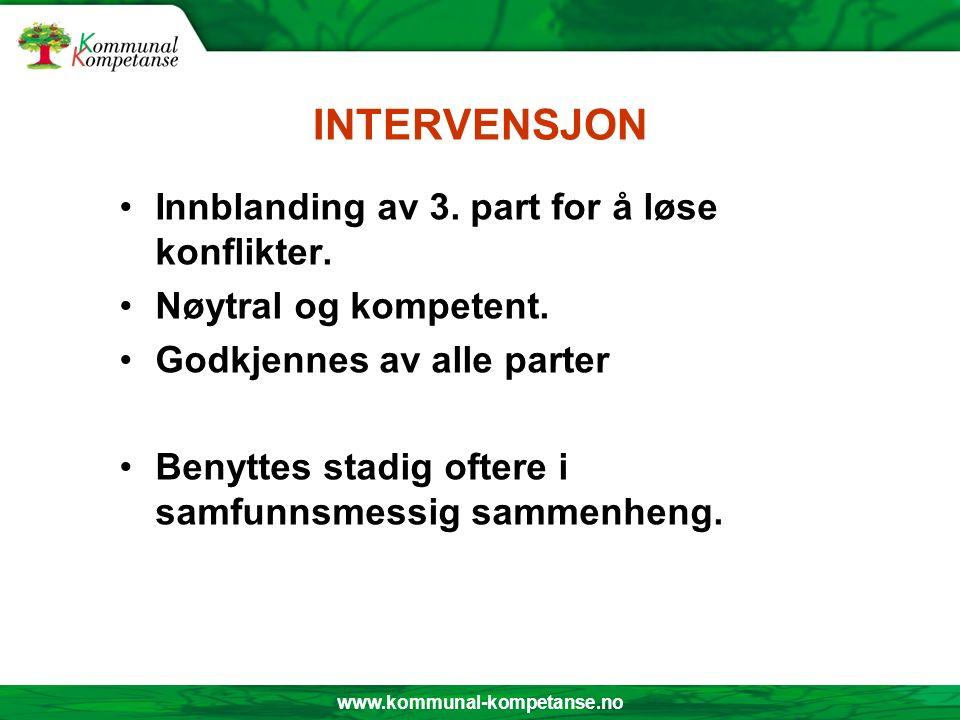 www.kommunal-kompetanse.no INTERVENSJON Innblanding av 3. part for å løse konflikter. Nøytral og kompetent. Godkjennes av alle parter Benyttes stadig