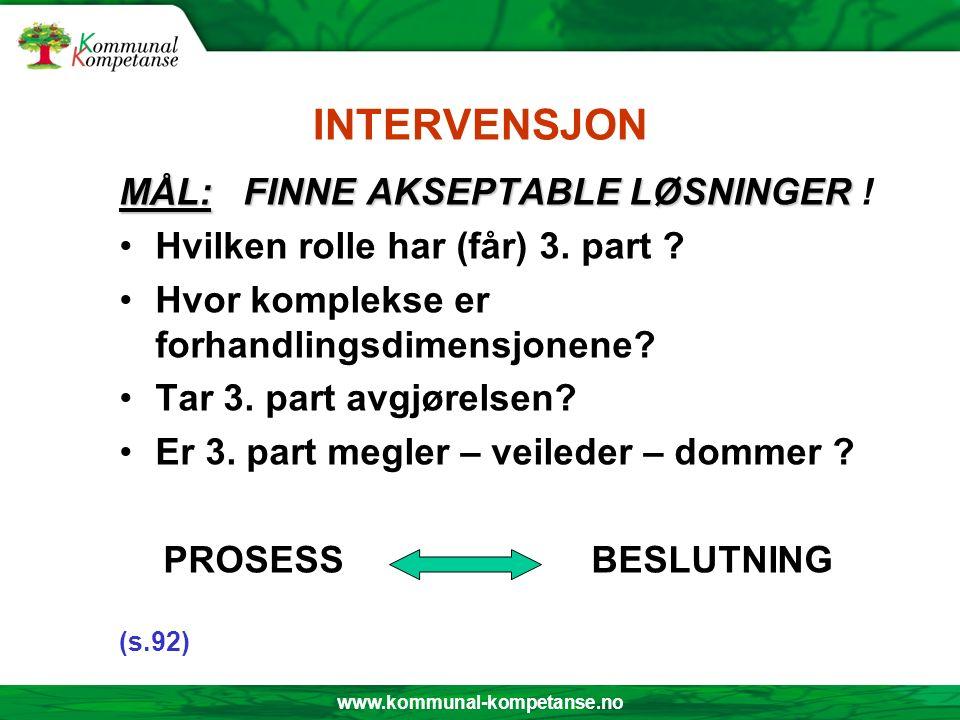 www.kommunal-kompetanse.no INTERVENSJON MÅL: FINNE AKSEPTABLE LØSNINGER MÅL: FINNE AKSEPTABLE LØSNINGER ! Hvilken rolle har (får) 3. part ? Hvor kompl