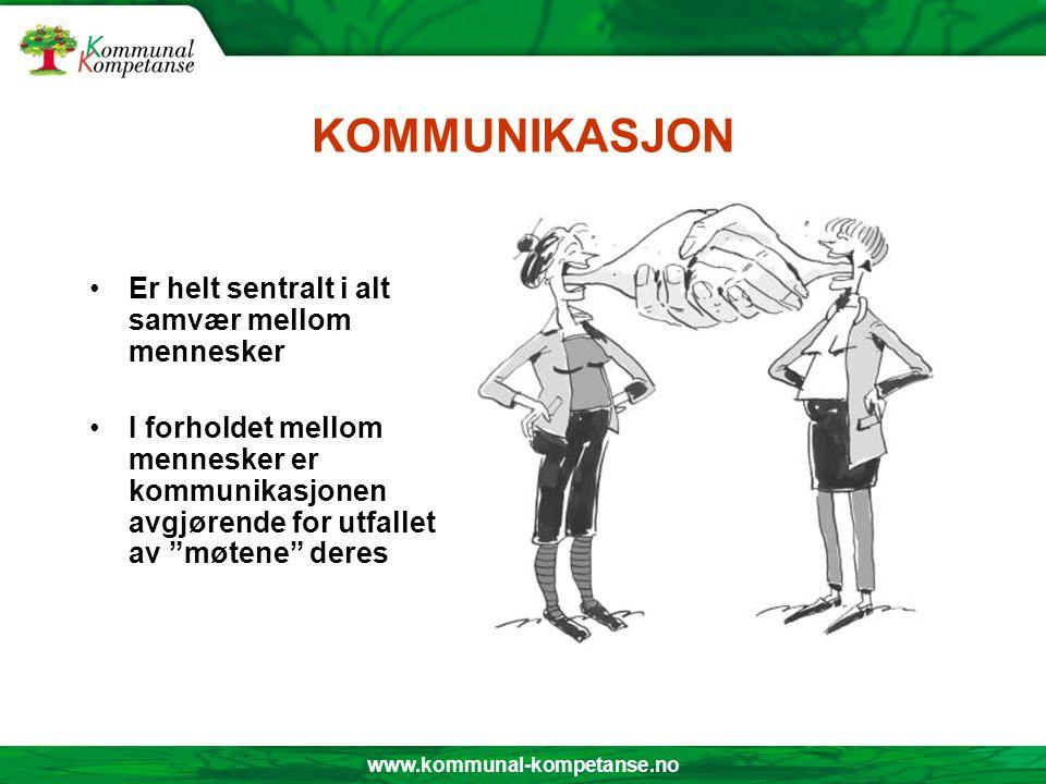 www.kommunal-kompetanse.no KOMMUNIKASJON Er helt sentralt i alt samvær mellom mennesker I forholdet mellom mennesker er kommunikasjonen avgjørende for utfallet av møtene deres
