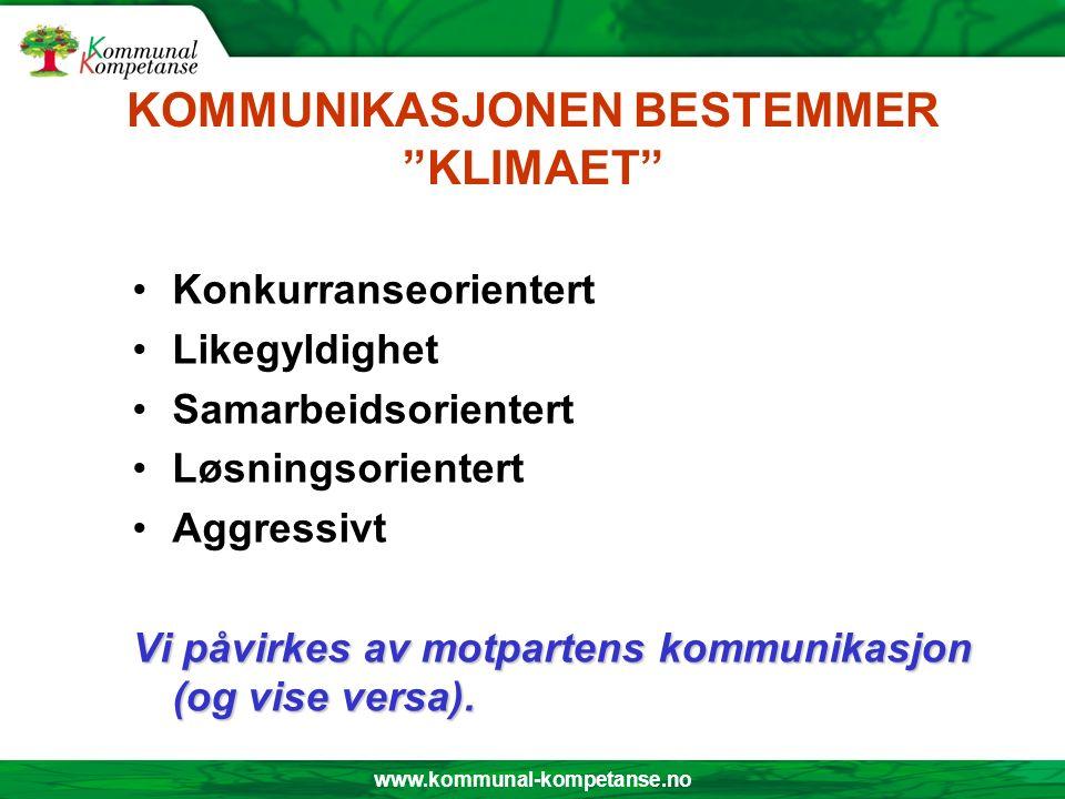 """www.kommunal-kompetanse.no KOMMUNIKASJONEN BESTEMMER """"KLIMAET"""" Konkurranseorientert Likegyldighet Samarbeidsorientert Løsningsorientert Aggressivt Vi"""