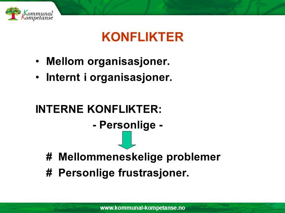 www.kommunal-kompetanse.no KONFLIKTER Mellom organisasjoner. Internt i organisasjoner. INTERNE KONFLIKTER: - Personlige - # Mellommeneskelige probleme