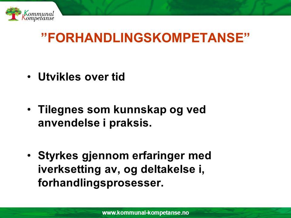 www.kommunal-kompetanse.no FORHANDLINGSKOMPETANSE Utvikles over tid Tilegnes som kunnskap og ved anvendelse i praksis.