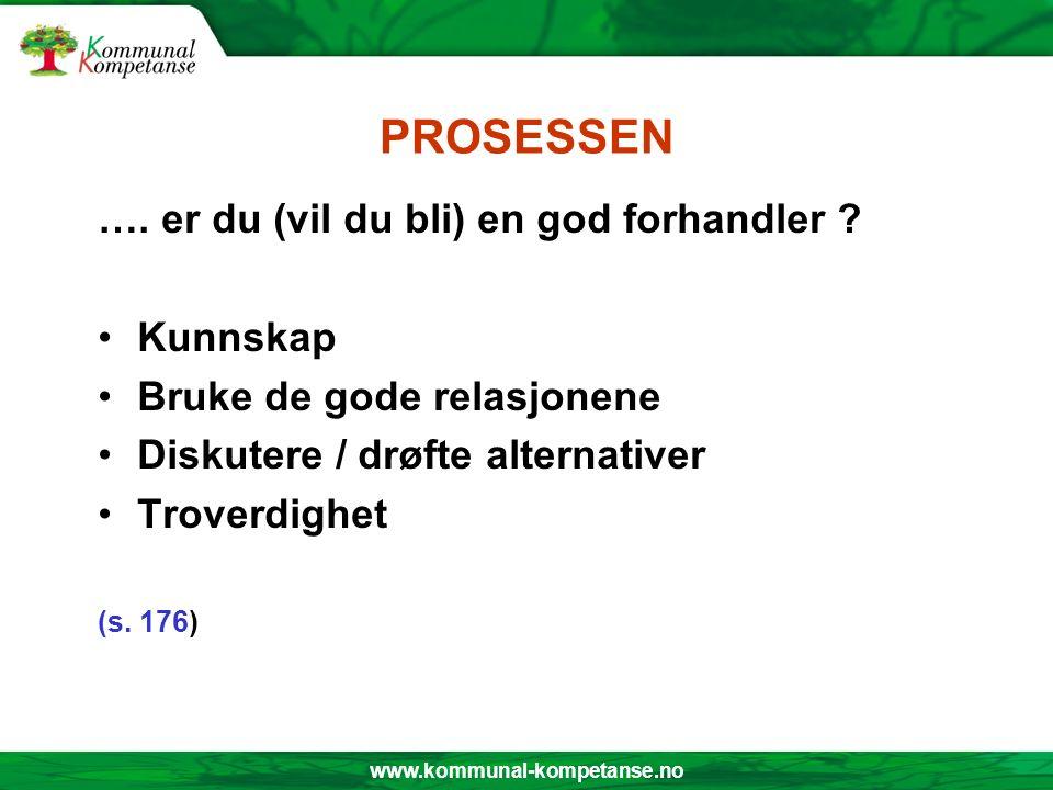 www.kommunal-kompetanse.no PROSESSEN …. er du (vil du bli) en god forhandler .