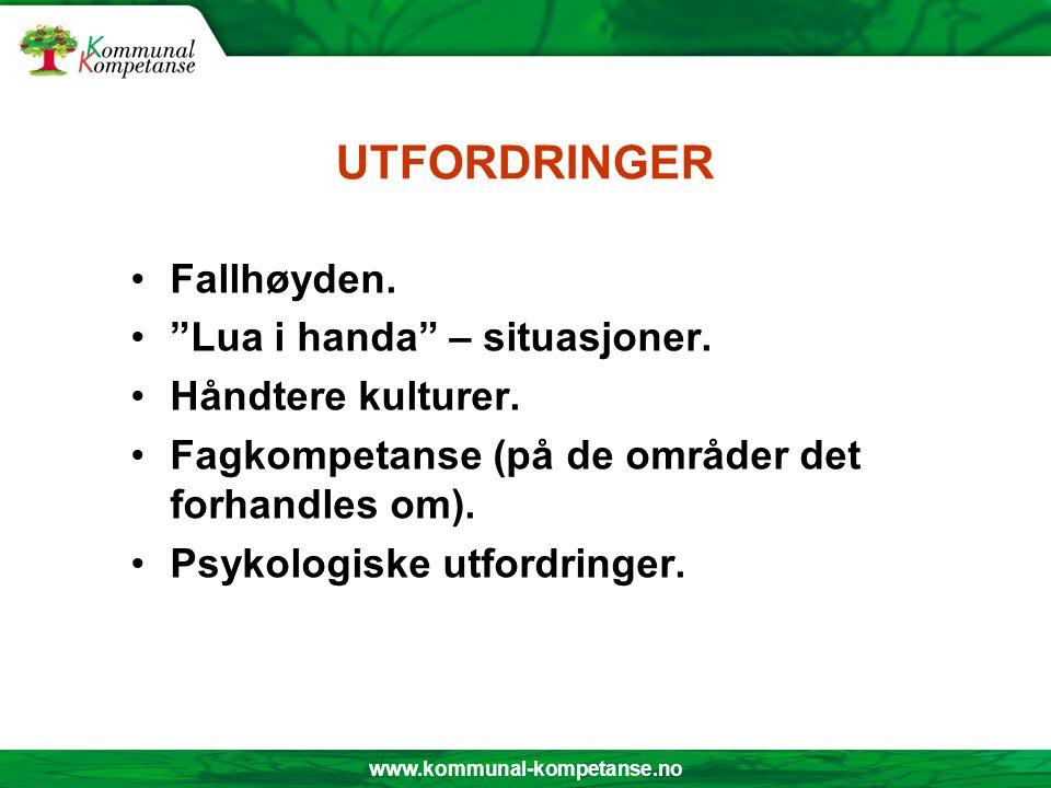 """www.kommunal-kompetanse.no UTFORDRINGER Fallhøyden. """"Lua i handa"""" – situasjoner. Håndtere kulturer. Fagkompetanse (på de områder det forhandles om). P"""