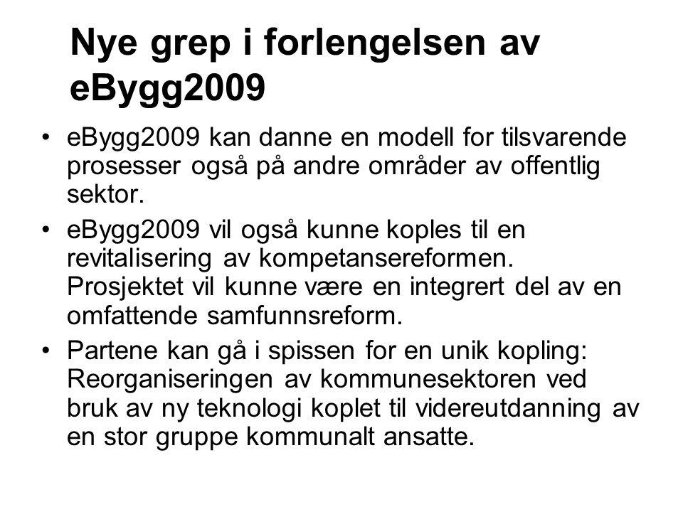 Nye grep i forlengelsen av eBygg2009 eBygg2009 kan danne en modell for tilsvarende prosesser også på andre områder av offentlig sektor. eBygg2009 vil
