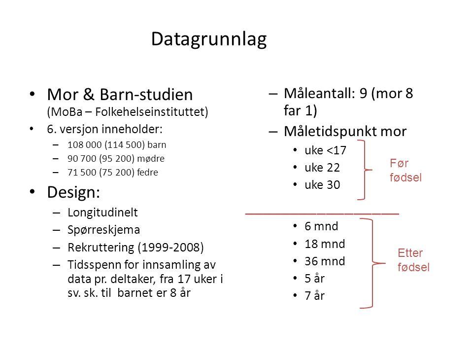 Datagrunnlag Mor & Barn-studien (MoBa – Folkehelseinstituttet) 6.