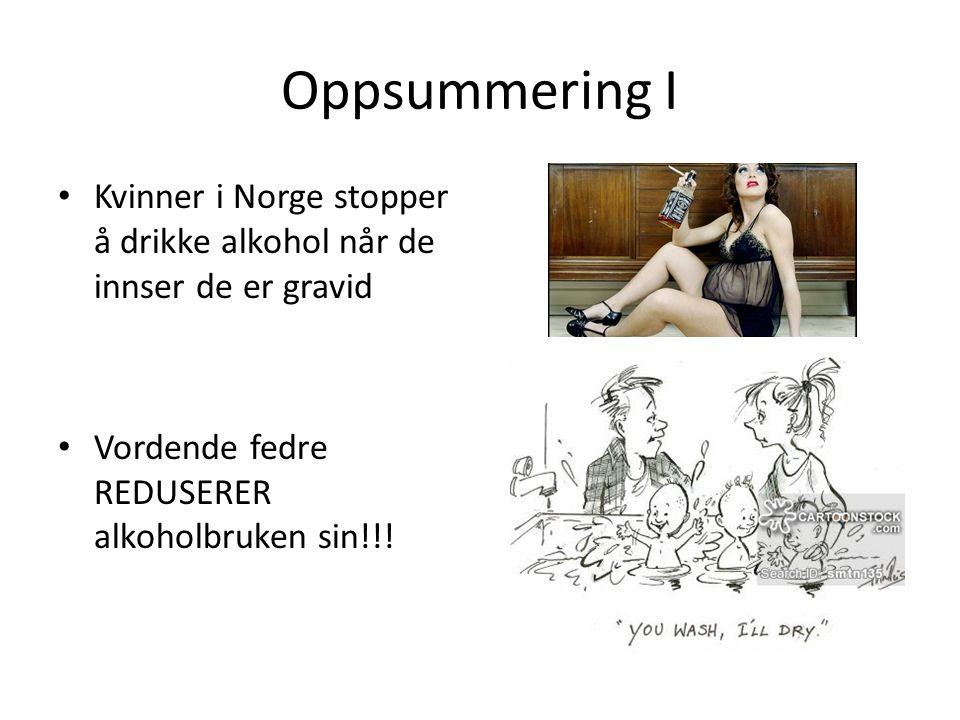 Oppsummering I Kvinner i Norge stopper å drikke alkohol når de innser de er gravid Vordende fedre REDUSERER alkoholbruken sin!!!