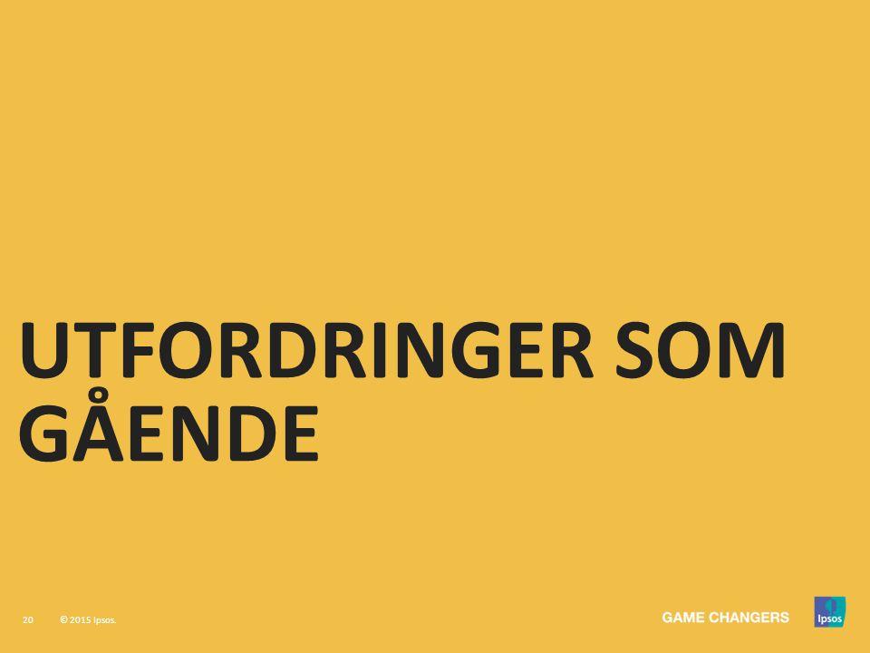 20 © 2015 Ipsos. UTFORDRINGER SOM GÅENDE