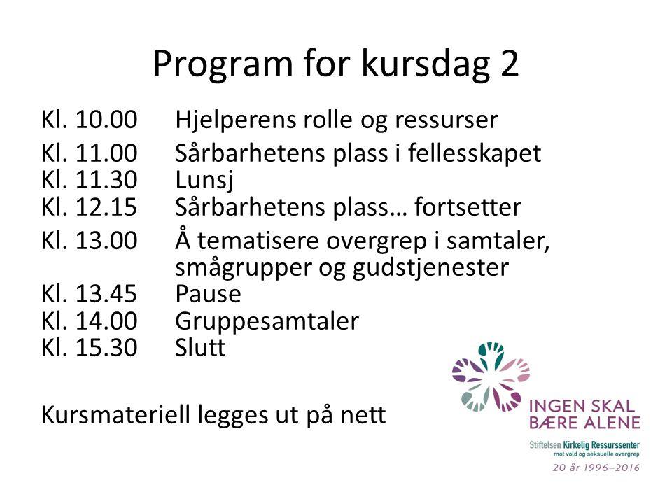 Program for kursdag 2 Kl. 10.00Hjelperens rolle og ressurser Kl.