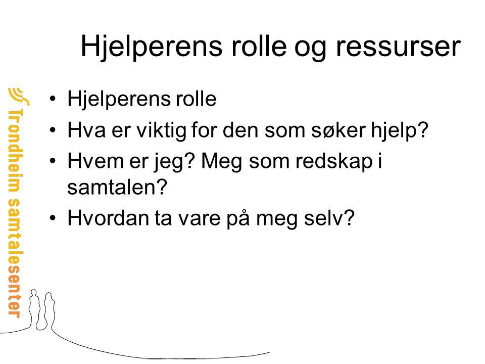 Hjelperens rolle og ressurser Hjelperens rolle Hva er viktig for den som søker hjelp.
