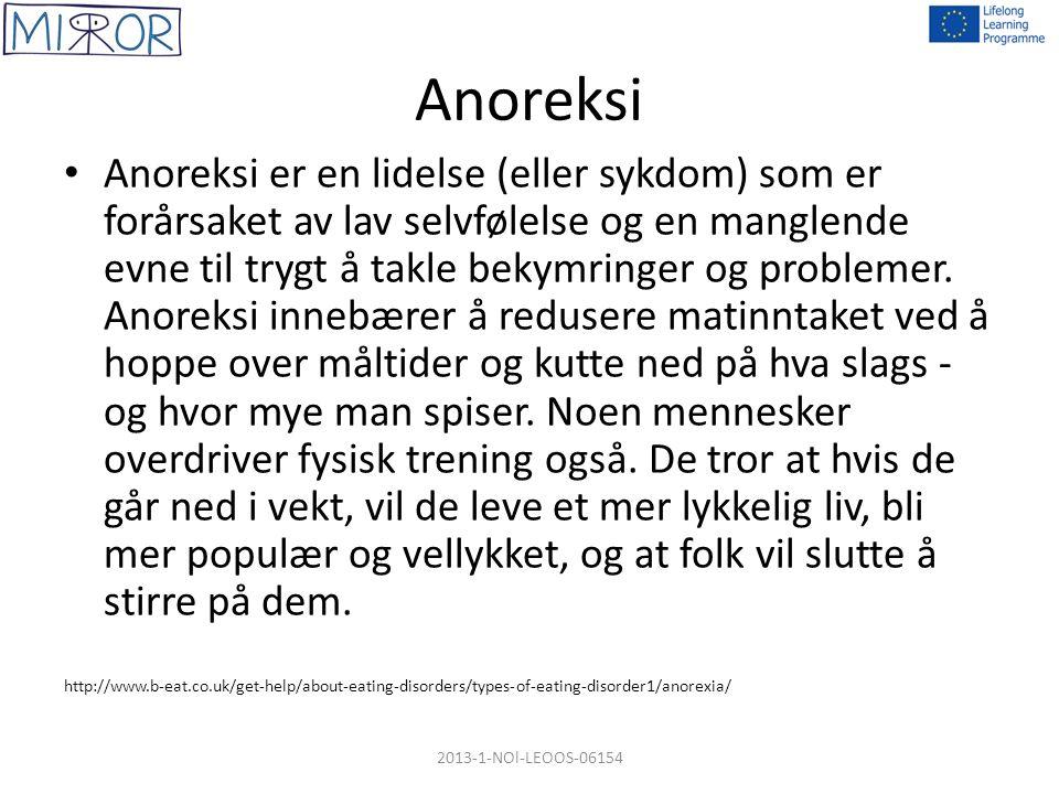 Anoreksi Anoreksi er en lidelse (eller sykdom) som er forårsaket av lav selvfølelse og en manglende evne til trygt å takle bekymringer og problemer.