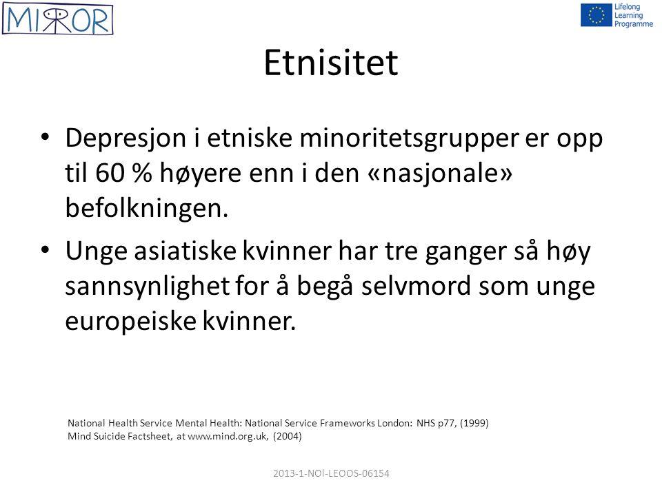 Etnisitet Depresjon i etniske minoritetsgrupper er opp til 60 % høyere enn i den «nasjonale» befolkningen. Unge asiatiske kvinner har tre ganger så hø