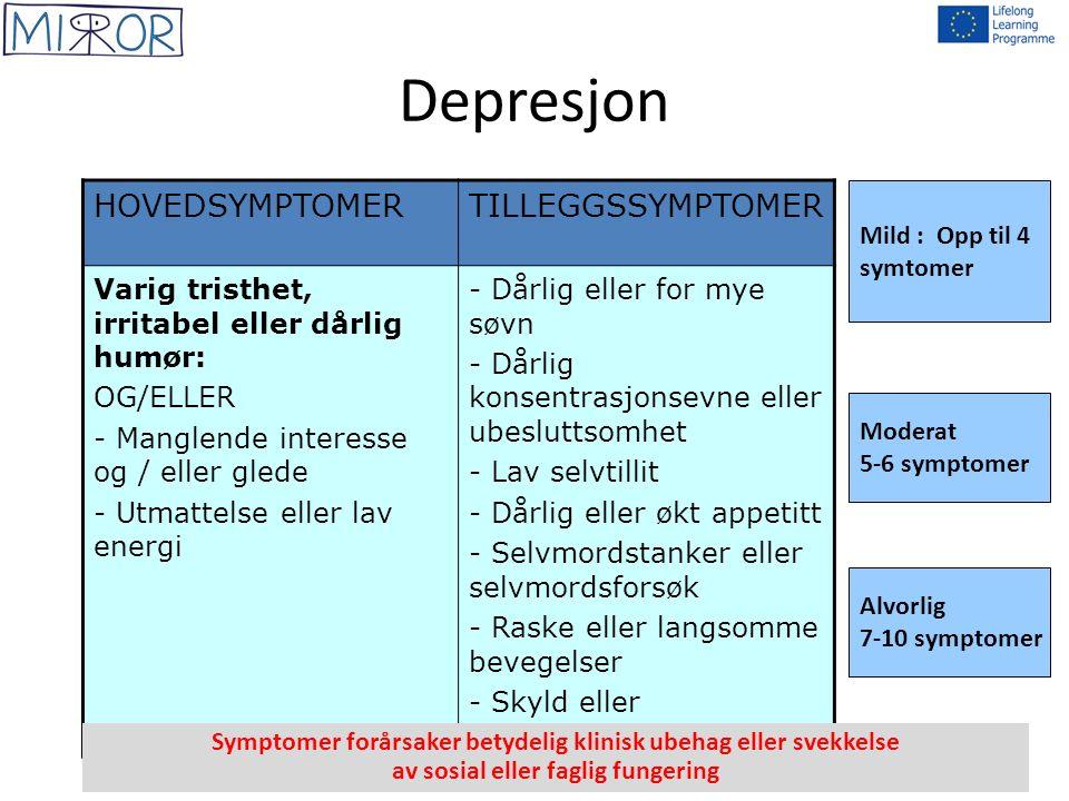 Depresjon HOVEDSYMPTOMERTILLEGGSSYMPTOMER Varig tristhet, irritabel eller dårlig humør: OG/ELLER - Manglende interesse og / eller glede - Utmattelse e