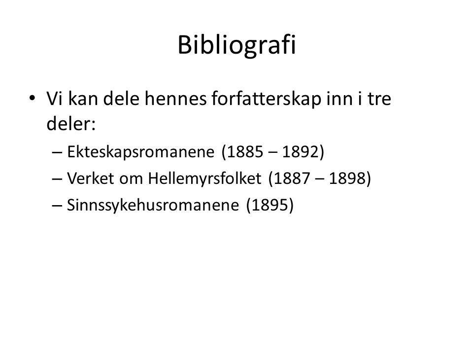 Bibliografi Vi kan dele hennes forfatterskap inn i tre deler: – Ekteskapsromanene (1885 – 1892) – Verket om Hellemyrsfolket (1887 – 1898) – Sinnssykehusromanene (1895)